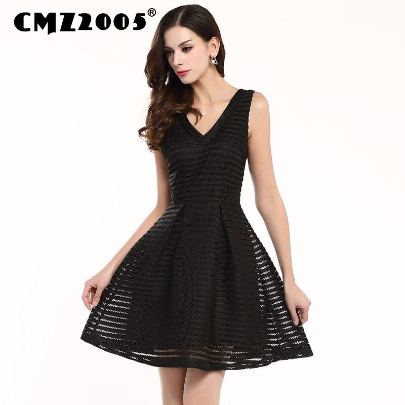 Limited Special Offer V-neck A-line Hollow Out Summer Sleeveless Regular Striped Office Dress Vestidos De Fiesta Robe 71413