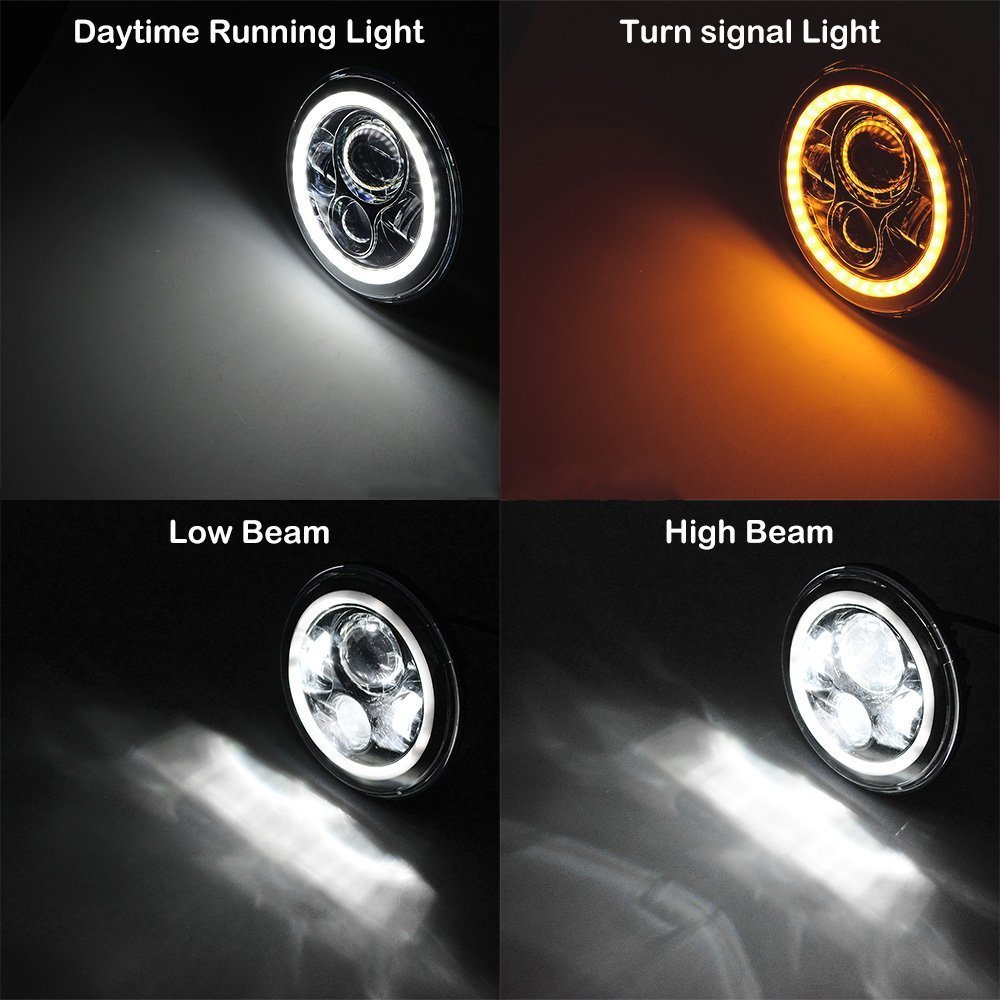 """Для lada Niva 4x4 suzuki samurai """" светодиодный DRL H4 галогеновые фары головного света для ВАЗ 2101 7 дюймовый светодиодный фар головного света с Halo Кольцо желтый сигнал поворота"""