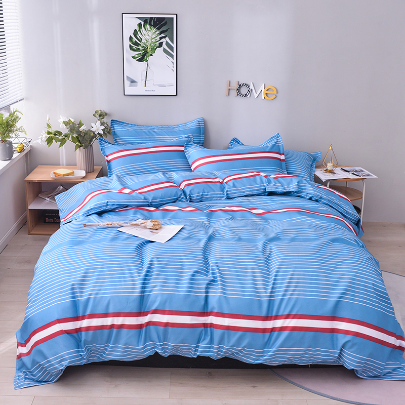 Fashion Stripes Duvet Cover Pillowcases Bedspread Bedding Sets Home Textile Pink Gray Blue Green Bedroom Set Queen King Single