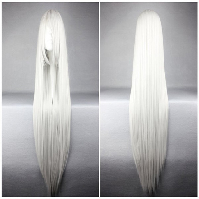 HAIRJOY Popular Style Top Quality Synthetic Vocaloid Haku Silvery White 110cm Long Straight Cosplay Wig Free Shipping