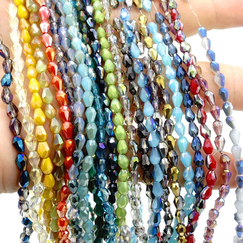 100pcs 12x8mm Teardrop Faceted Crystal Glass Loose Spacer Beads Craft Jewelry