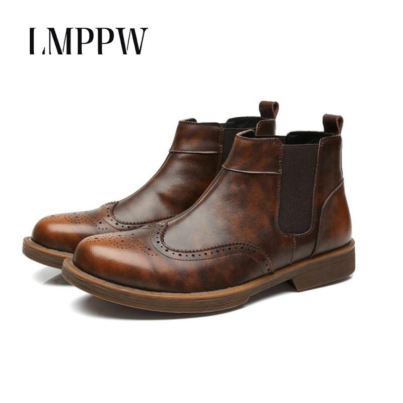 High Quality Genuine Leather Men Boots Outdoor Working Snow Boots Men Shoes Ankle Chelsea Boots Breathable Luxury Brand in Basic Boots from Shoes