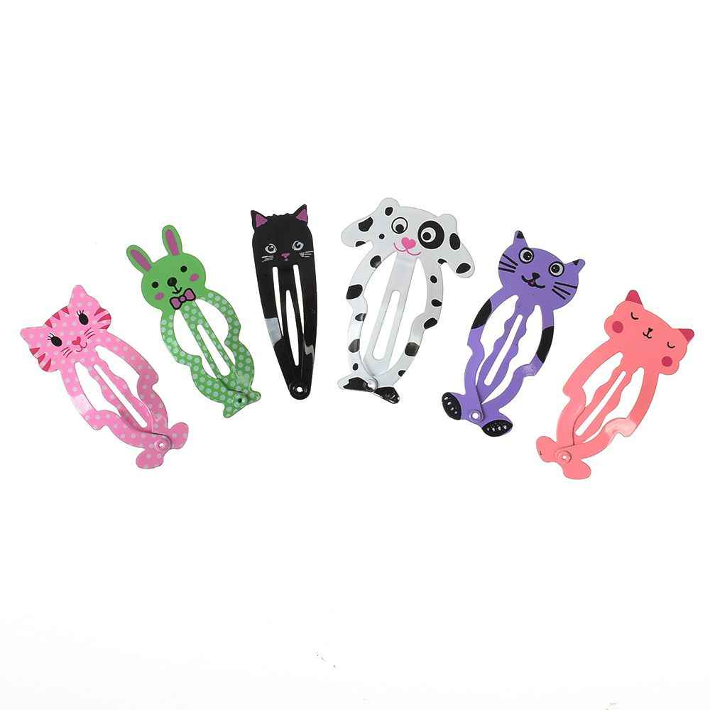 6PCS Fashion Girl Animals Hairpin Headwear Kids Barrettes Hair Clips Jewelry Snap Clips Children Hair Accessories