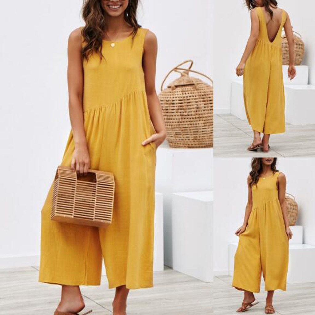 Women   Jumpsuit   Sexy Fashion Sleeveless Backless Romper Loose beach Playsuit summer Clubwear   Jumpsuit   overalls mono mujer pants