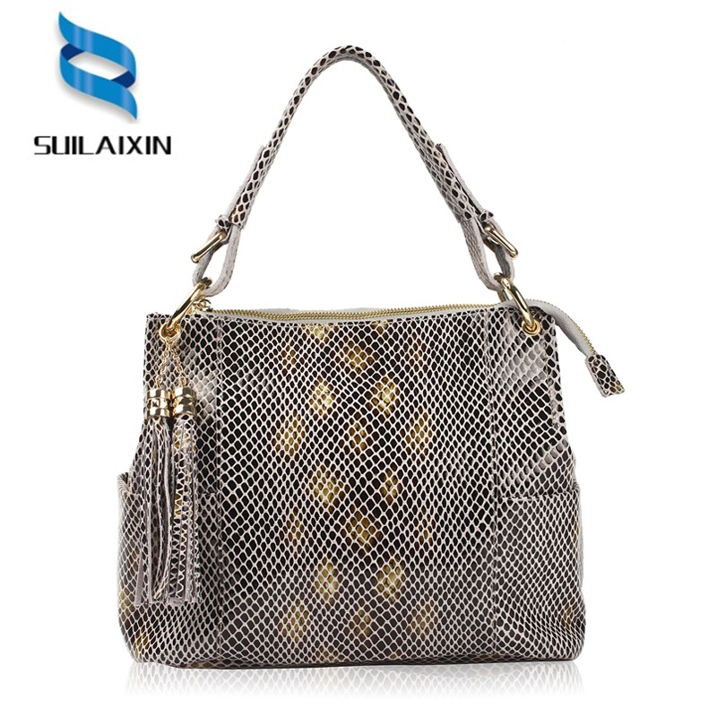 brand genuine leather handbag women serpentine prints large shoulder bag with tassel classic top-handle bag female crossbody bag women bag set top handle big capacity female tassel handbag fashion shoulder bag purse ladies pu leather crossbody bag