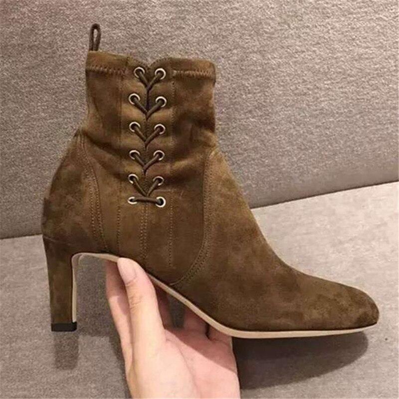 Bottes Designer De Sur Zapatos Talons Pompes Nouveaux Carrés Suede Slip Cheville as Pour Dames Pic Chaussures Pic Mujer Stretch Bottines As Femmes OznxZOq0