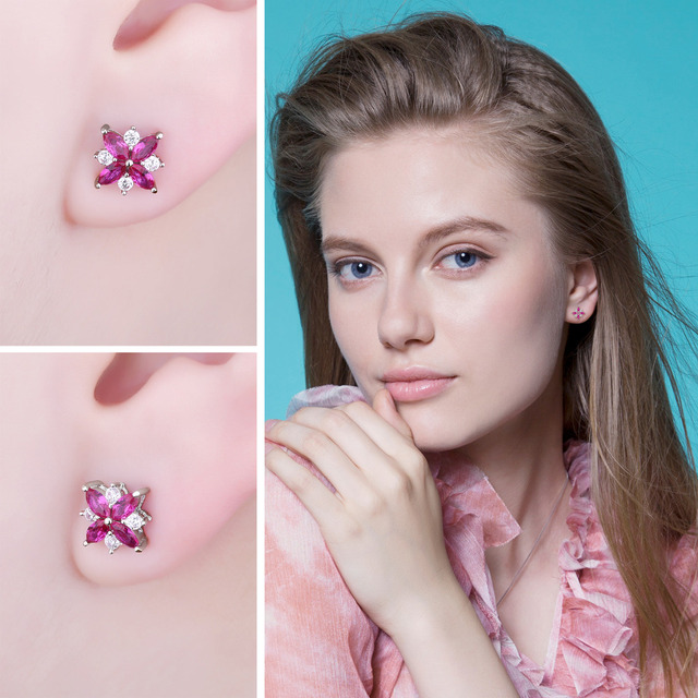 Flowers Ruby Stud Earrings