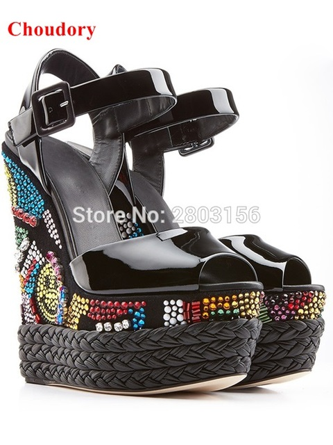 9ec4d48e0f23b Newest black patent leather rhinestone wedge sandals multi-color crystal  embellished platform high heel sandals shoes woman