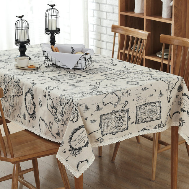 Map Style Cotton Linen Cloth Printed Tablecloth Customized Household Table  Cloth Personality Continental Simple Lace Tablecloths