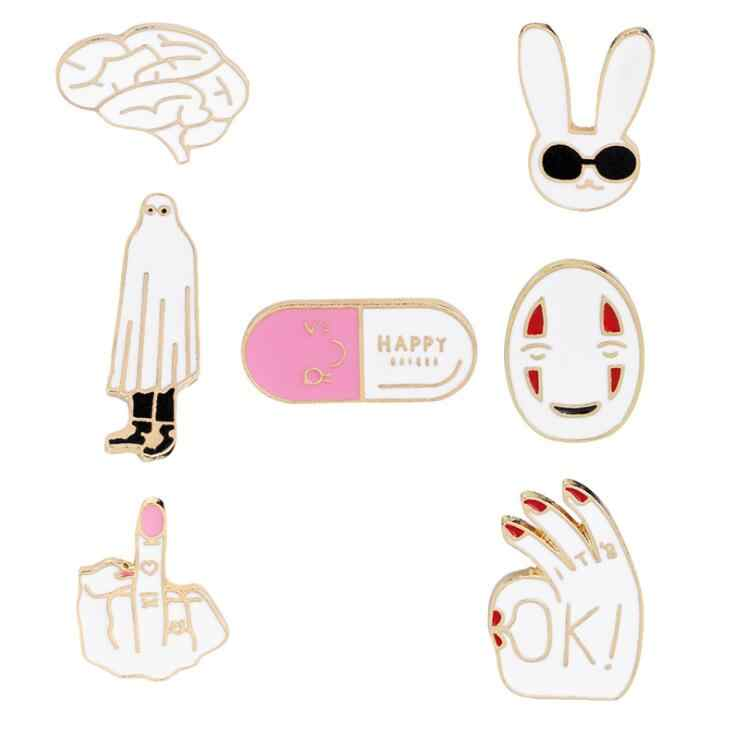 High Quality NEW Enamel pins White rabbit mask figure sign brain cute cartoon brooches pin badge Women jewelry Girl child gifts