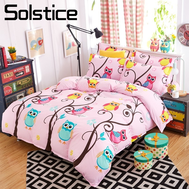 Solstice Home Textile Owl Forest Bedding Sets Kid Child Teen Girls Linen Pink Duvet Cover Pillowcase Bed Sheet King Queen Single