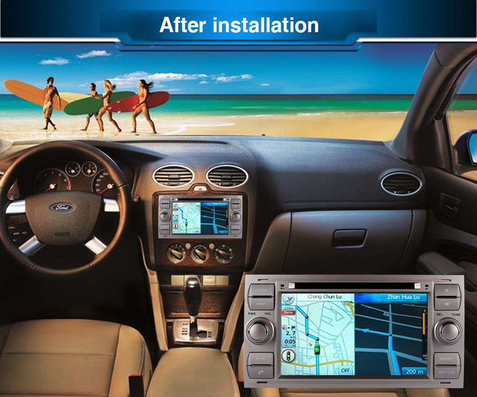 Pure Android 6.0 Car DVD GPS Navi Player Stereo Radio Audio 4G For Ford Focus 2 Mondeo S C Max Fiesta Galaxy Connect With Camera