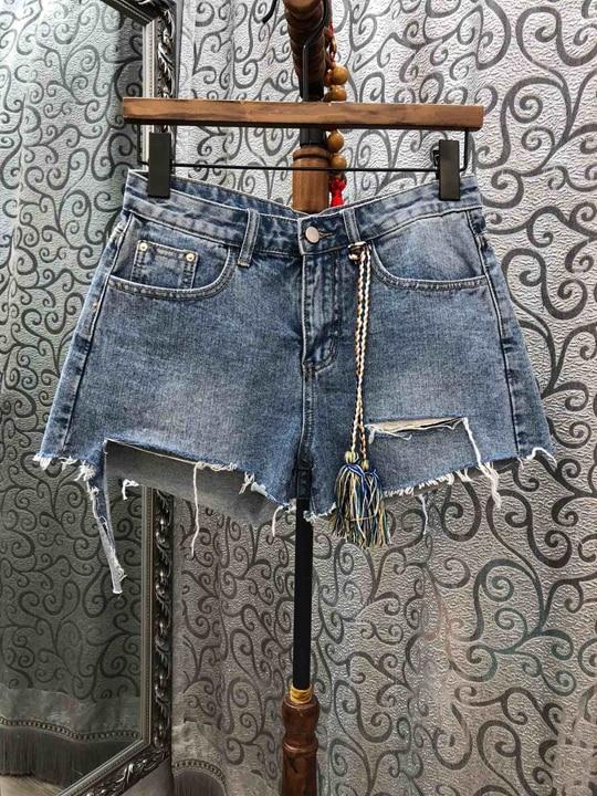 New Summer 2019 Women s Wear Irregular Cutting Decorative Bottom Jeans Shorts 526