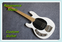 Hot Selling Chinese Left Handed 4 Strings Music Man Bass Guitar In White Color With Sliver