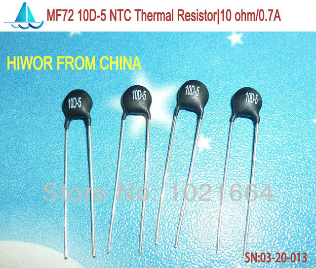 (100pcs/lot)(Thermal Resistors) 10D-5 NTC Thermal Resistor, 10 ohm Max. Steady State Current: 0.7A