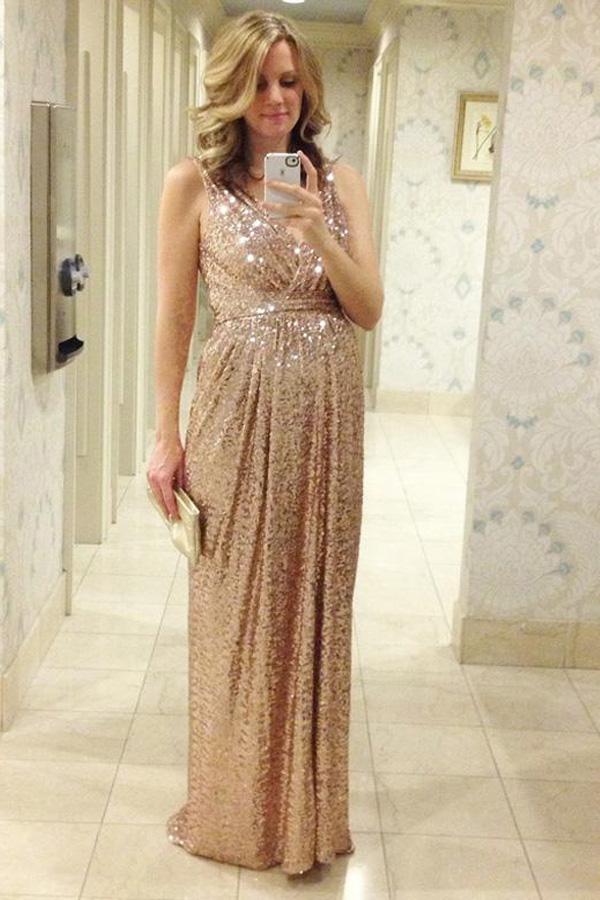 Champagne Sequins Long Maternity Women Bridesmaid Dresses 2016 V