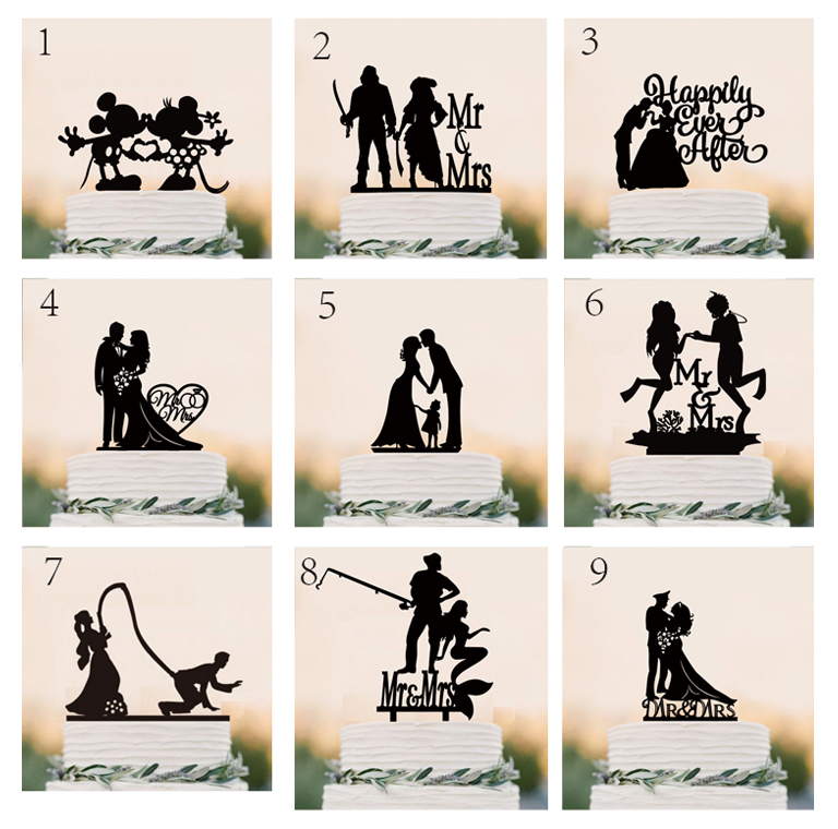 Wedding Cake Topper Silhouette Bride And Groom With -9001