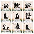 """Wedding Cake Topper Silhouette Bride and Groom with """"Mr & Mrs"""" Acrylic Cake Topper"""