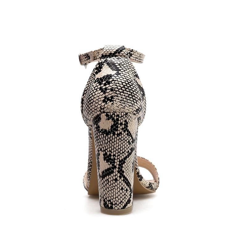 Ladies Spring alti Albicocca Open Toe Fashion 2019 Shoes Sandali Print donna Strap Thick Snake Tacchi Wetkiss Anklet Donna wq7Svv