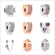 Mix alloy love clover heart clip Mickey Safety Chain bead Fit Original Pandora Bead Bracelet For Women Charm DIY P018(China)