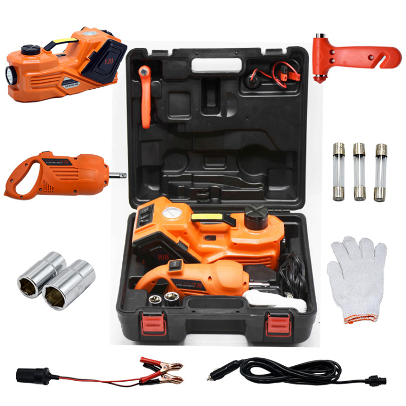 Orange Color 3 In 1 Functions Tyre Change Tools Lifting Jack And Impact Wrench