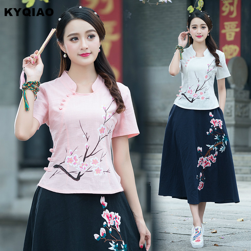 KYQIAO Ethnic skirt for women summer stand collar short sleeve v neck pink white wintersweet   blouse     shirt   Chinese clothing store