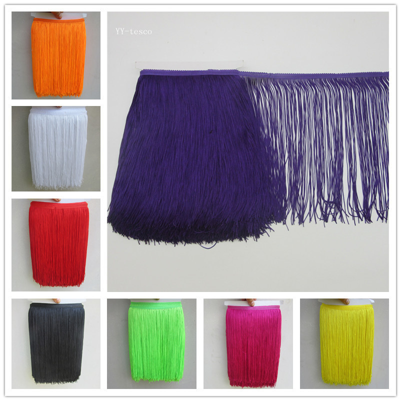 YY tesco 1 Yard 30CM Lace Fringe Trim Polyester Tassel Fringe Trimming For Diy Latin Dress Stage Clothes Accessories Lace Ribbon in Tassel Fringe from Home Garden