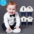 Bebê recém-nascido Menino Macacão 100% Algodão Tie Cavalheiro Terno Arco Roupas de Lazer Terno Do Corpo Da Criança Macacão de Bebê Meninos Roupas de Marca