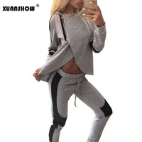 2015 Fashion Womens Autumn Casual Patchwork Two Pieces Sports Suits Hoodies