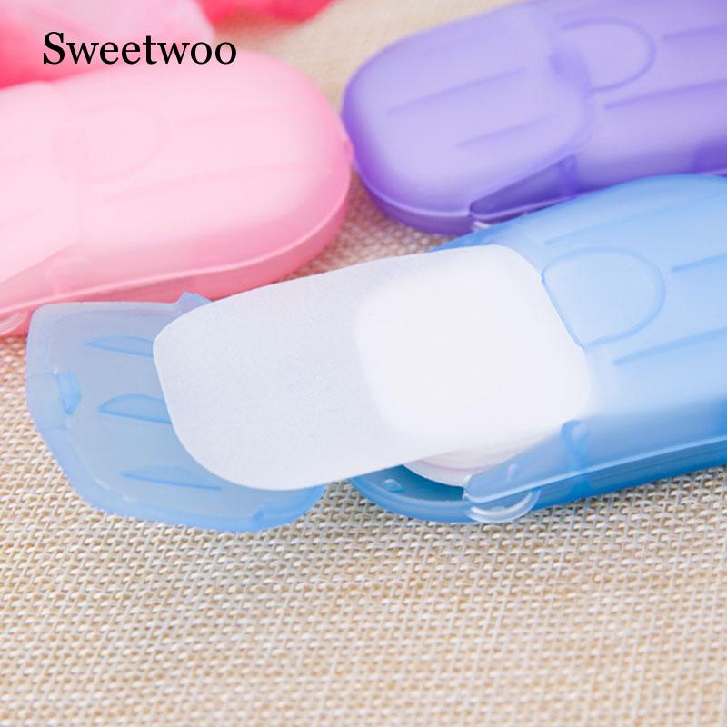 20pcs / Box Portable Soap Paper Disposable  Mini Random Delivery Outdoor Product