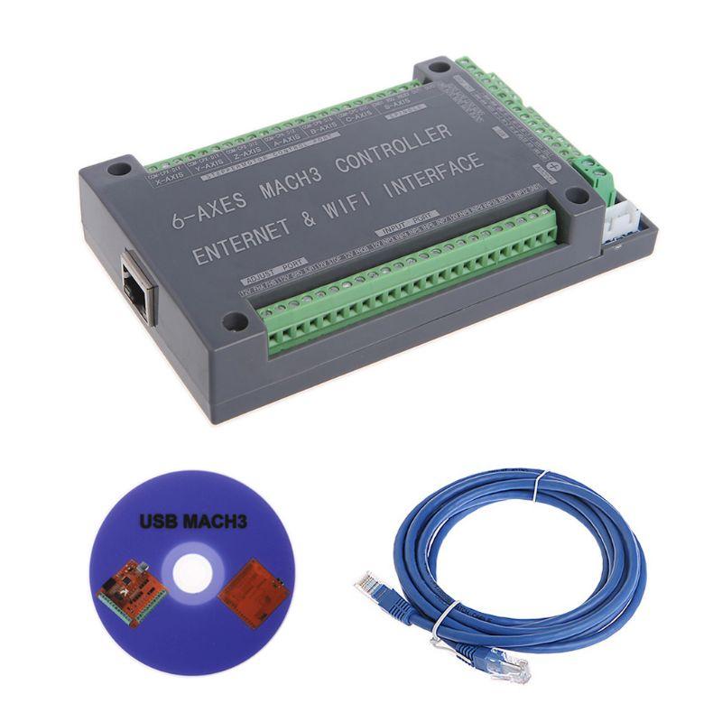 NVUM 6 osi CNC kontroler MACH3 Ethernet płyta interfejsu karty 200KHz dla silnika krokowego w Moduły automatyki domowej od Elektronika użytkowa na