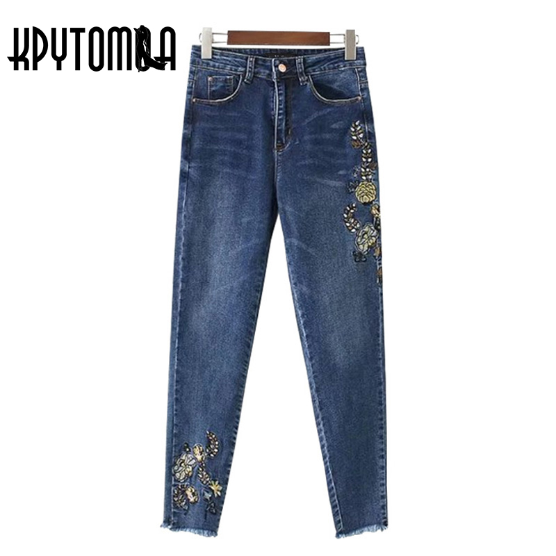 Vintag Chic Floral Embroidery Tassel Denim Jeans Women 2017 New Fashion Pockets Ankle Length Pencil Pants Casual Ladies Trousers 2017 spring new women sweet floral embroidery pastoralism denim jeans pockets ankle length pants ladies casual trouse top118