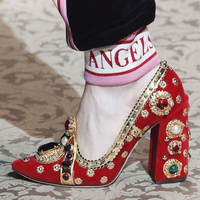Retro Rhinestone Pearl Embellished Women Pumps Suede Leather Block Heel Vintage Formal Party Shoes