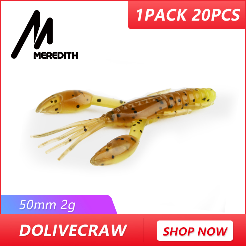 MEREDITH 5cm 2g 20pcs DoliveCraw Fishing Lures Craws Shrimp Soft Lure Fishing Bait Wobblers Bass Lures Soft Silicone meredith fishing lures crazy flapper 70mm 3g 10pc lot craws soft lures fishing for fishing soft bait shrimp bass bait peche gear