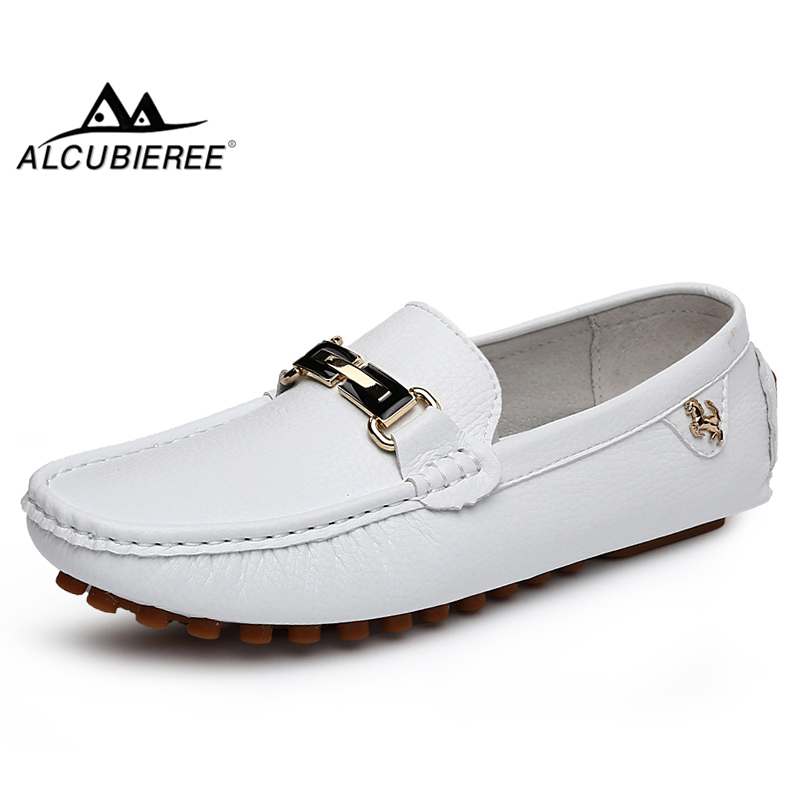 ALCUBIEREE Brand Italian Mens Luxury Loafes Men's Casual Slip On Moccasins Comfortable Soft Driving Shoes Mental Buckle Gomminos