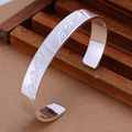Hot Sale Men's Silver Bangles 6.5*1 cm Silver Cuff Bracelet Love Bangle Retail & Wholesale