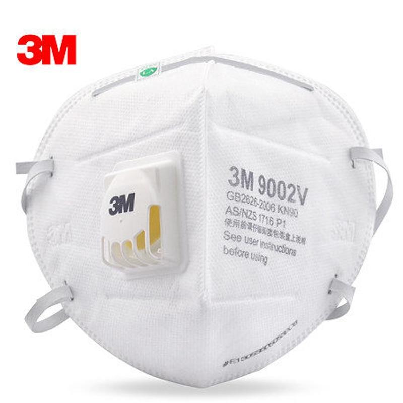 5pcs 3M 9002V Anti Dust PM 2.5 Mask Anti Influenza Breathing Valve Non Woven Fabric Folding Filter Mask Adult KN90  Safety Masks