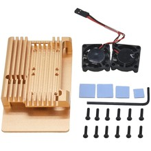 hot sale For Raspberry Pi 3 Model B+ Cooling Shell Metal Alloy Aluminum Case Radiator Fan(China)