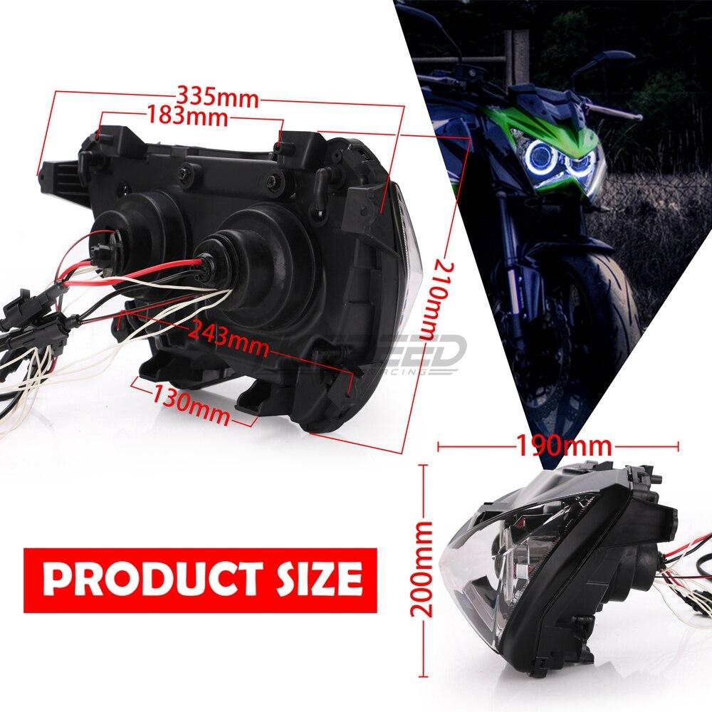 Halo Ojo Azul color de luz proyector HID de montaje de la linterna para Kawasaki Z800 z250 2013, 2014, 2015, 2016 - 2