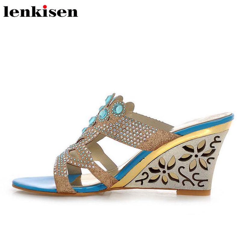 Lenkisen Sandals Mules Sparkling Runway Crystals High-Heel Hollow Women Classic Pu Retro