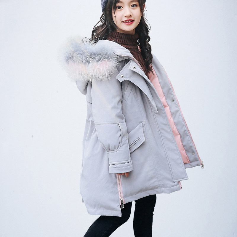2018 Winter Children Girls Warm Down Jackets Teenage Coat Parkas Real Fur Collar White Duck Down Hood Thick Warm Outerwear P03 emylo 4x 220v 1000w 1channel 433mhz wireless rf realy remote control switch receiver with transmitter