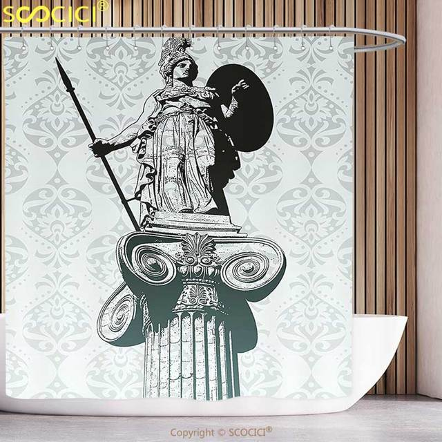 Funky Shower Curtain Sculptures Decor Statue Of Athena On Pillar Baroque Background Ancient Greek Mythology Hellenistic