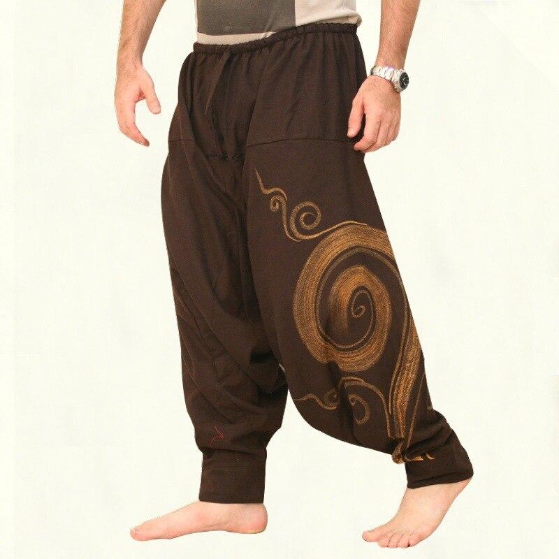 Vintage Männer Hosen Harem Elastische Beiläufige Baggy Yoga Harem Hosen Hip-Hop Männer Gypsy Baumwolle Leinen breitbeinig Lose Hosen kordelzug