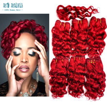 Hot Sale South Africa Hair Weave 6Pcs Lot Red All In One Weave #99G Burgundy Stema Hair Company Ross Pretty Hair Free Closure