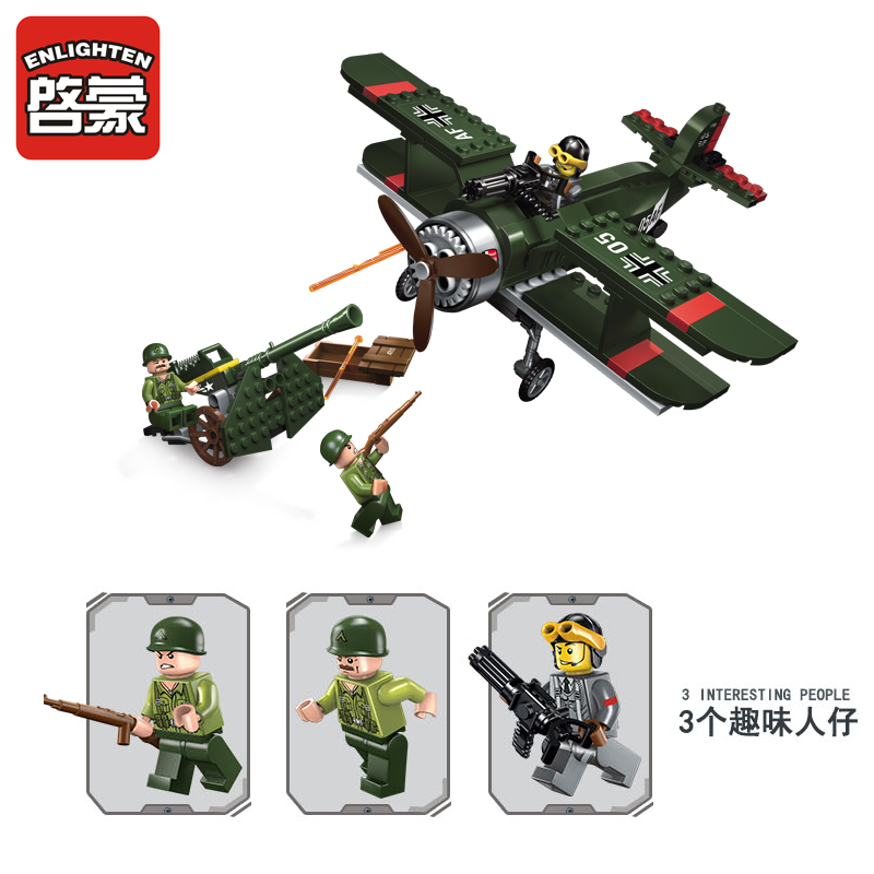 Enlighten Models Building toy Compatible with Lego E1705 187pcs Biplane Blocks Toys Hobbies For Boys Girls Model Building Kits