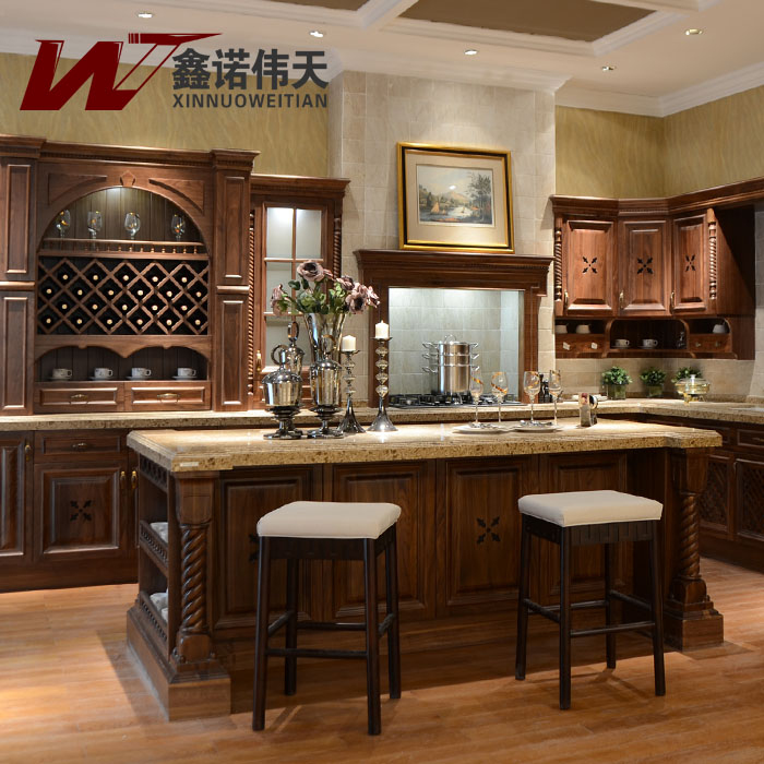 Chinese Style Classical Modular Customize Red Oak Kitchen
