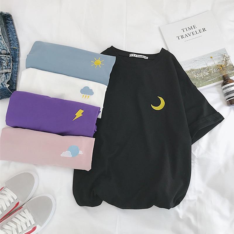 Korean Cartoon Embroidery Loose All-match T Shirt Summer Short Sleeve Simple T-shirts Women Harajuku Kawaii Candy Colors Tshirt