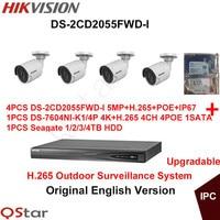 Hikvision Original English Outdoor CCTV System 4pcs DS 2CD2055FWD I 5MP H 265 IP Bullet Camera