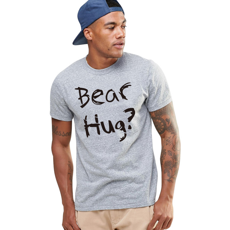 Free Hugs Men 39 s Short Sleeved Printed T shirt Bear Hug Summer Creative English Double sided Printing Loose in T Shirts from Men 39 s Clothing