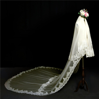 bridal accessories 3.8M Appliques Lace two layers cathedral veil Appliques wedding veil Bridal Veil with Comb
